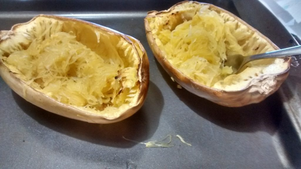 Cut in half, remove seeds, add olive oil, salt and pepper to taste, bake at 400 degrees for 50 minutes. Fork and ready!